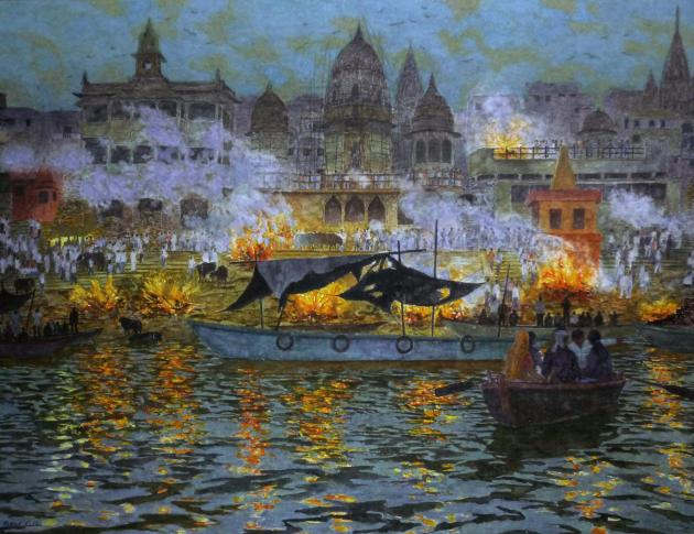 Death in Varanasi, burning ghats at Dusk