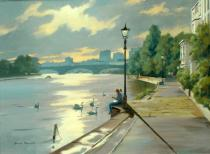 Feeding the Swans Strand on the Green - Denis Pannett